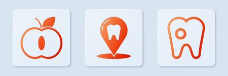 Set Dental clinic location, Apple and Tooth with caries. White square button. Vector.