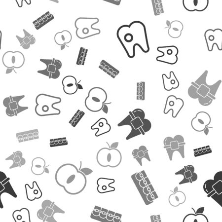 Set Tooth with caries, Teeth with braces, Teeth with braces and Apple on seamless pattern. Vector.