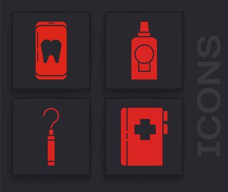 Set Clipboard with dental card, Online dental care, Mouthwash plastic bottle and Dental explorer scaler for teeth icon. Vector. Vettoriali