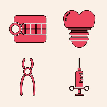Set Dental medical syringe, Dentures model, Dental implant and Dental pliers icon. Vector.
