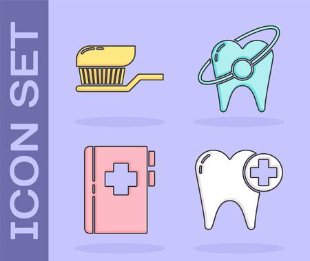 Set Tooth, Toothbrush with toothpaste, Clipboard with dental card and Tooth whitening concept icon. Vector.