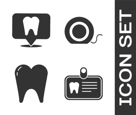 Set Id card with tooth, Dental clinic location, Tooth and Dental floss icon. Vector.