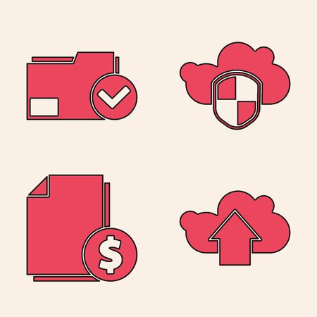 Set Cloud upload, Document folder and check mark, Cloud and shield and Finance document icon. Vector.