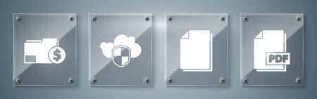 Set PDF file document, Document, Cloud and shield and Finance document folder. Square glass panels. Vector.