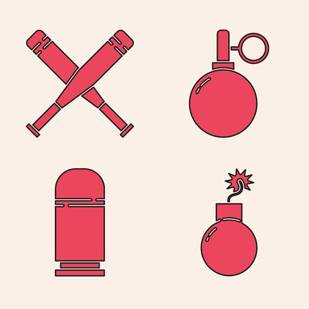 Set Bomb ready to explode, Crossed baseball bat, Hand grenade and Cartridges icon. Vector.
