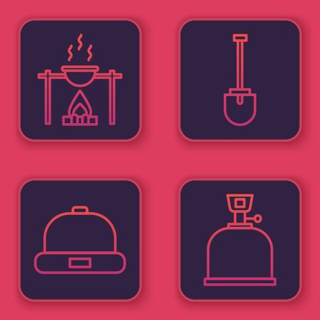 Set line Campfire and pot, Beanie hat, Shovel and Camping gas stove. Blue square button. Vector. 일러스트
