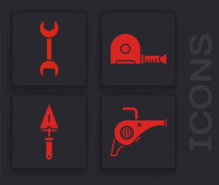 Set Leaf garden blower, Wrench spanner, Roulette construction and Trowel icon. Vector.