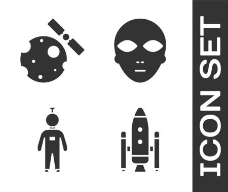 Set Space shuttle and rockets, Satellites orbiting the planet Earth, Astronaut and Alien icon. Vector.