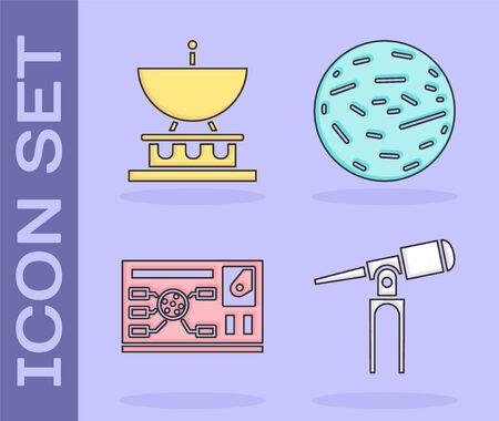 Set Telescope, Satellite dish, Futuristic hud interface and Planet Venus icon. Vector. Ilustração