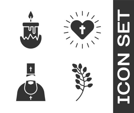 Set Willow leaf, Burning candle, Priest and Christian cross and heart icon. Vector. Vettoriali