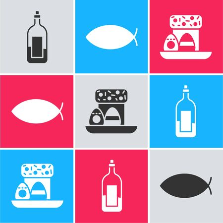 Set Bottle of wine, Christian fish and Easter cake and eggs icon. Vector.