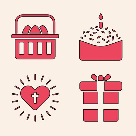 Set Gift box, Basket with easter eggs, Easter cake and candle and Christian cross and heart icon. Vector. Vettoriali