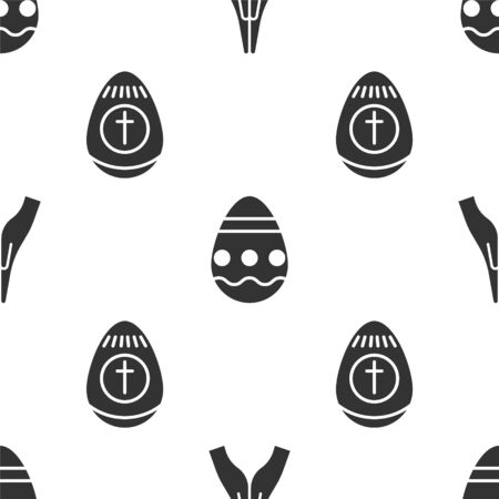 Set Hands in praying position, Easter egg and Easter egg on seamless pattern. Vector.