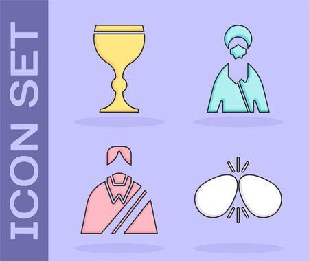 Set Easter eggs, Wine glass, Jesus Christ and Jesus Christ icon. Vector. Vectores