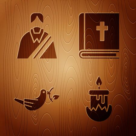Set Burning candle, Jesus Christ, Peace dove with olive branch and Holy bible book on wooden background. Vector. Ilustrace