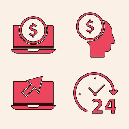 Set Clock 24 hours, Laptop with dollar, Business man planning mind and Laptop and cursor icon. Vector. Illustration