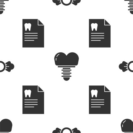 Set Candy, Dental implant and Clipboard with dental card on seamless pattern. Vector. Vettoriali