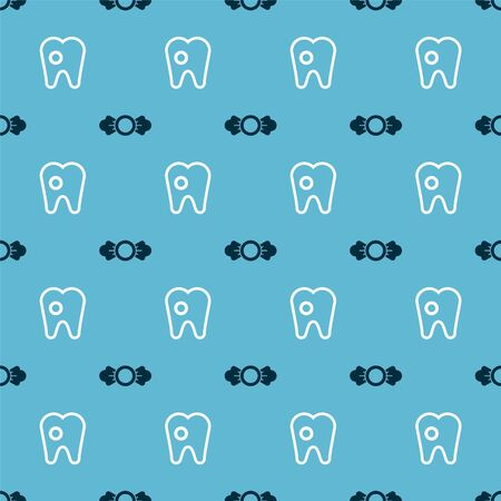 Set Candy and Tooth with caries on seamless pattern. Vector.