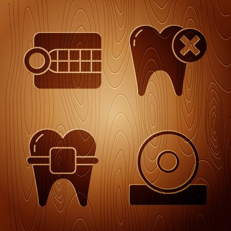 Set Otolaryngological head reflector, Dentures model, Teeth with braces and Tooth with caries on wooden background. Vector.