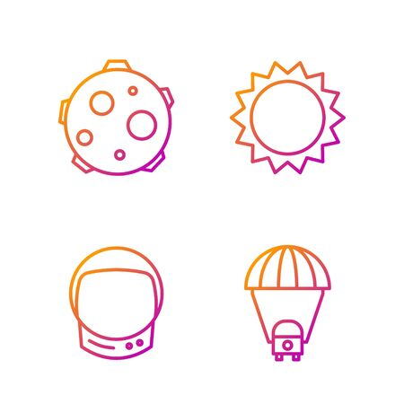 Set line Planet Saturn, Astronaut helmet, UFO abducts cow and Sun. Gradient color icons. Vector. Vectores