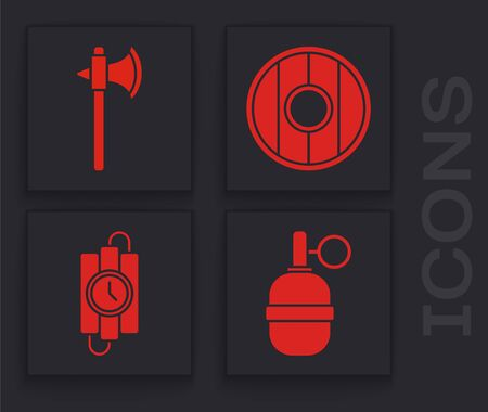 Set Hand grenade, Medieval axe, Round wooden shield and dynamite stick and timer clock icon. Vector. Ilustração