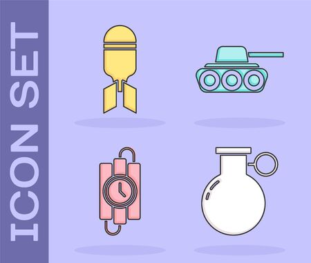 Set Hand grenade, Aviation bomb, dynamite stick and timer clock and Military tank icon. Vector. Ilustração