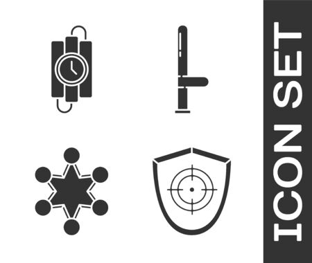Set Target sport, dynamite stick and timer clock, Police badge and Police rubber baton icon. Vector. 向量圖像