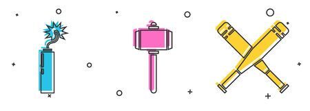 Set Dynamite bomb stick clock, Battle hammer and Crossed baseball bat icon. Vector.
