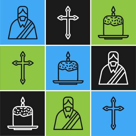 Set line Jesus Christ, Easter cake and candle and Christian cross icon. Vector.