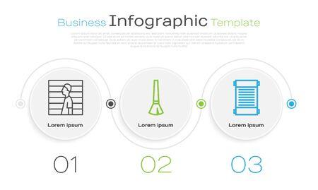Set line Suspect criminal, Paint brush and Decree, paper, parchment, scroll. Business infographic template. Vector. Vectores