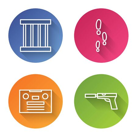 Set line Prison window, Footsteps, Retro audio cassette tape and Pistol or gun with silencer. Color circle button. Vector.