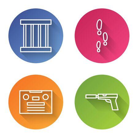 Set line Prison window, Footsteps, Retro audio cassette tape and Pistol or gun with silencer. Color circle button. Vector. Foto de archivo - 150096071