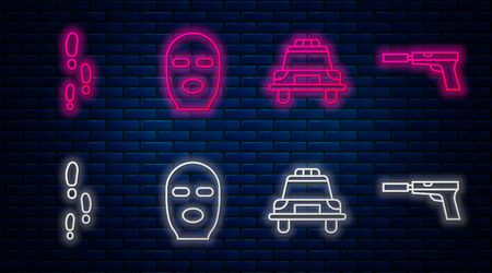 Set line Thief mask, Police car and flasher, Footsteps and Pistol or gun with silencer. Glowing neon icon on brick wall. Vector.