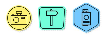 Set line Photo camera, Road traffic signpost and Passport with ticket. Colored shapes. Vector. 向量圖像