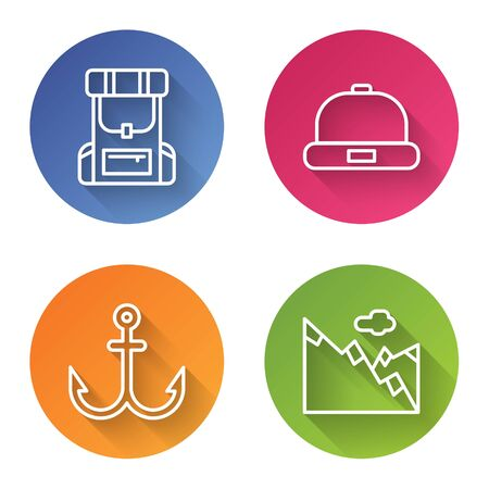 Set line Hiking backpack, Beanie hat, Anchor and Mountains. Color circle button. Vector. Banque d'images - 150093192