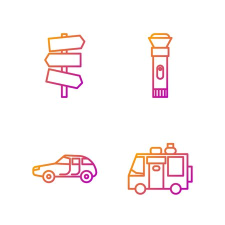 Set line Rv Camping trailer, Car, Road traffic signpost and Flashlight. Gradient color icons. Vector.
