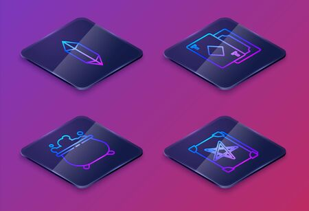 Set Isometric line Magic stone, Witch cauldron, Playing cards and Ancient magic book. Blue square button. Vector.