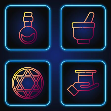 Set line Magician hat in hand, Star of David, Bottle with love potion and Magic mortar and pestle. Gradient color icons. Vector. Ilustração