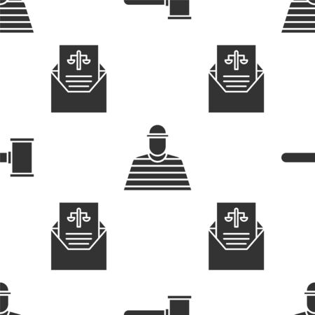 Set Judge gavel, Prisoner and Subpoena on seamless pattern. Vector. Foto de archivo - 150093207