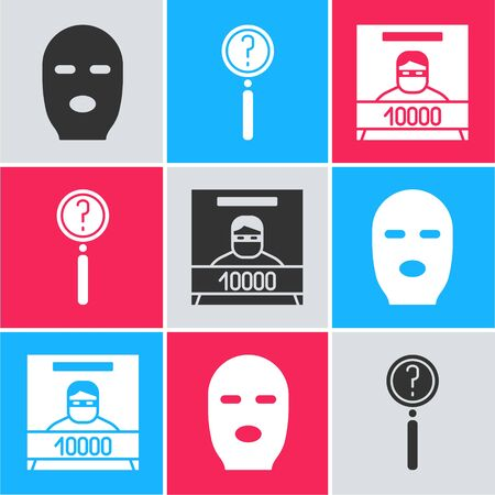Set Thief mask, Magnifying glass with search and Wanted poster icon. Vector. Foto de archivo - 150093210