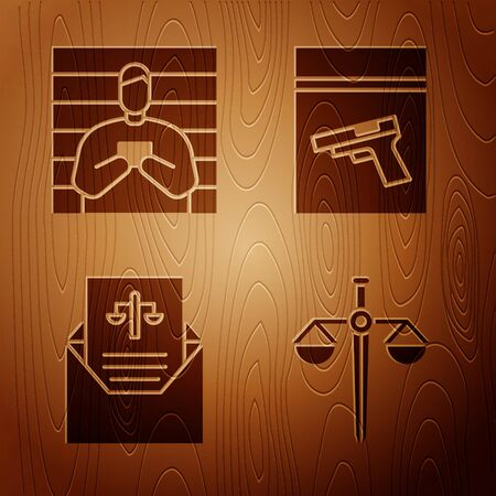 Set Scales of justice, Suspect criminal, Subpoena and Evidence bag and pistol or gun on wooden background. Vector. Foto de archivo - 150093216
