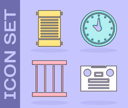 Set Retro audio cassette tape, Decree, paper, parchment, scroll, Prison window and Clock icon. Vector.