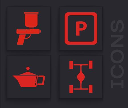 Set Chassis car, Paint spray gun, Parking and Canister for motor machine oil icon. Vector. Illustration