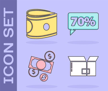 Set Carton cardboard box, Stacks paper money cash, Money cash and coin and Seventy discount percent tag icon. Vector. Illustration