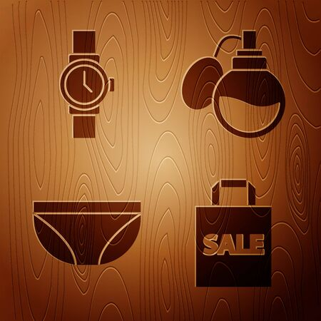 Set Shoping bag with Sale, Wrist watch, Underwear and Perfume on wooden background. Vector.