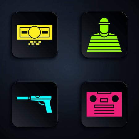 Set Retro audio cassette tape, Stacks paper money cash, Pistol or gun with silencer and Prisoner. Black square button. Vector. Foto de archivo - 150096343