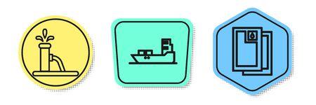 Set line Oil pump or pump jack, Oil tanker ship and Barrel oil. Colored shapes. Vector.