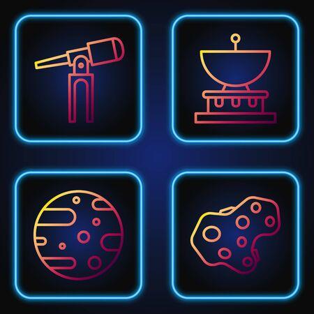 Set line Asteroid, Satellite dish, Telescope and Planet Saturn. Gradient color icons. Vector. Ilustração