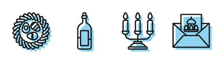 Set line Candelabrum with candlesticks, Easter egg in a wicker nest, Bottle of wine and Greeting card with Happy Easter icon. Vector.