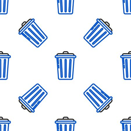 Line Trash can icon isolated seamless pattern on white background. Garbage bin sign. Recycle basket icon. Office trash icon. Colorful outline concept. Vector. Stockfoto - 150223715